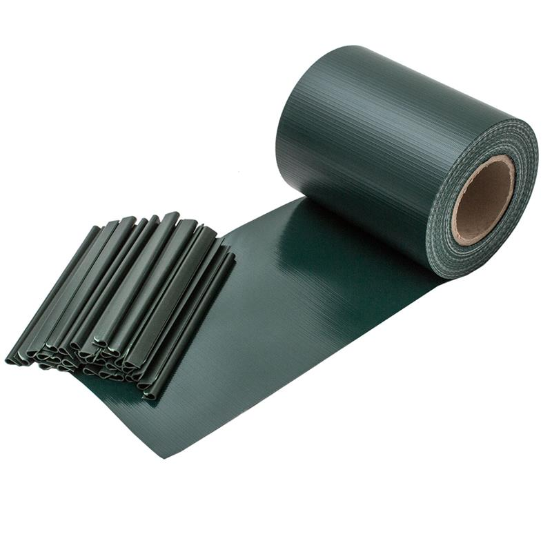 1x PVC Streifen Sichtschutzstreifen Zaunfolie Doppelstabmatten Grün 35m